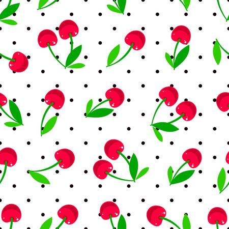Cute seamless background of ripe cherries