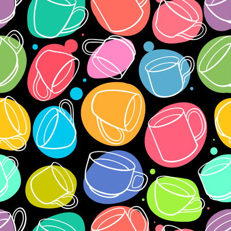 Seamless background of different teacups