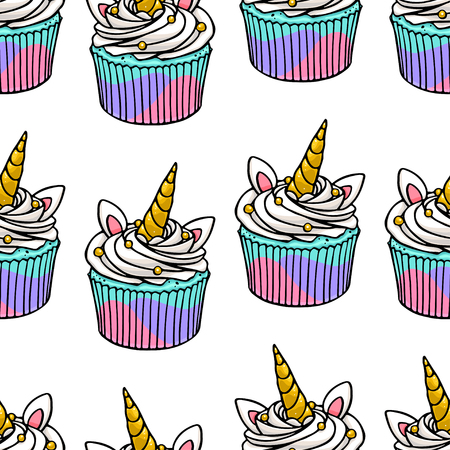 Seamless background of yummy cute unicorn cupcakes. Hand-drawn illustration Illustration