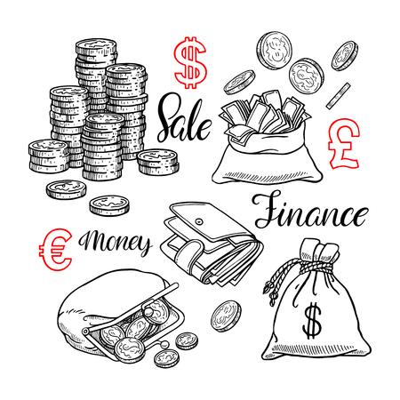 Lindo juego de monedas, dinero, finanzas. Ilustración dibujada a mano