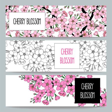 set van drie prachtige natuurlijke banners van bloeiende appelboomtak
