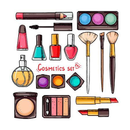 zestaw kosmetyków dekoracyjnych kobiety. ręcznie rysowana ilustracja Ilustracje wektorowe