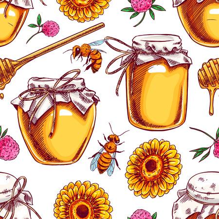 nahtloser Hintergrund von Honiggläsern, Bienen, Blumen. handgezeichnete Illustration