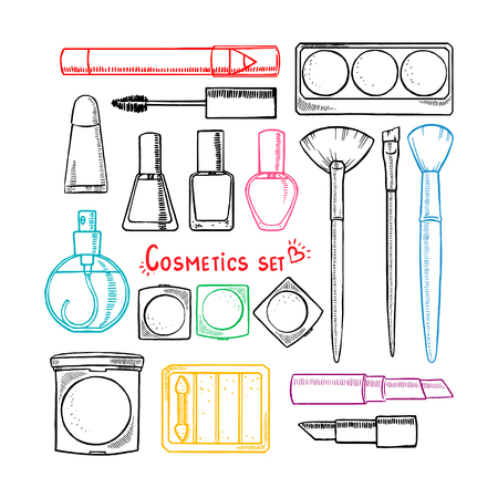 set of woman's decorative cosmetics. hand-drawn illustration