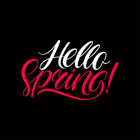 Hello Spring calligraphy. Spring hand-drawn banner. Hand-drawn calligraphy Illustration