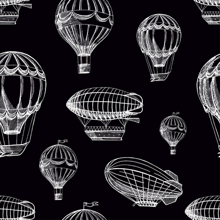 beautiful retro seamless background of airships flying to cloudy sky Stock Illustratie