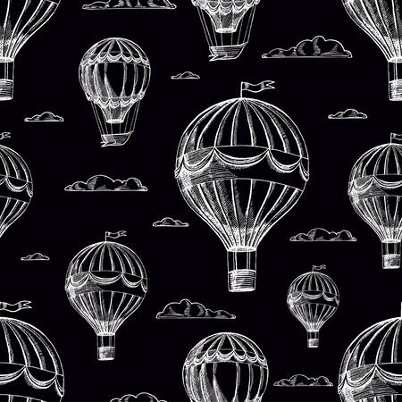 beautiful retro seamless background of airships flying to cloudy sky Ilustração