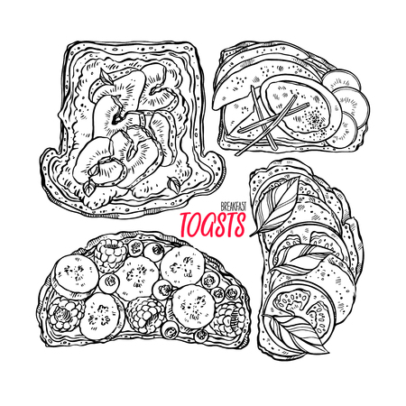 delicious set of different breakfast toasts. hand drawn illustration