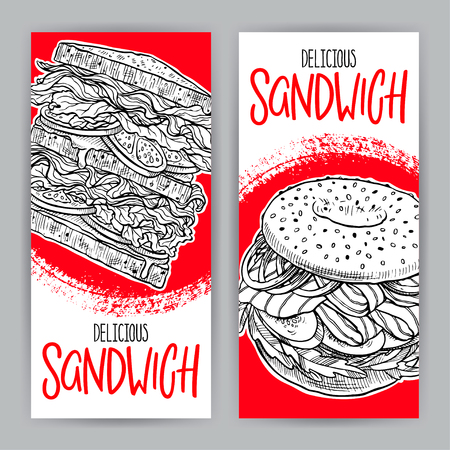 Two banners of delicious sandwiches. hand-drawn illustration