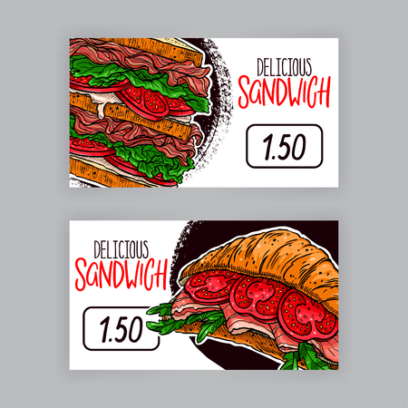 Two cute banners of appetizing sandwiches. Price tags. hand-drawn illustration