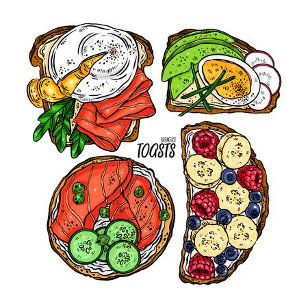 ensemble de délicieux toasts pour le petit-déjeuner avec différents ingrédients. illustration dessinée à la main