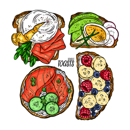 set of delicious breakfast toasts with different ingredients. hand drawn illustration