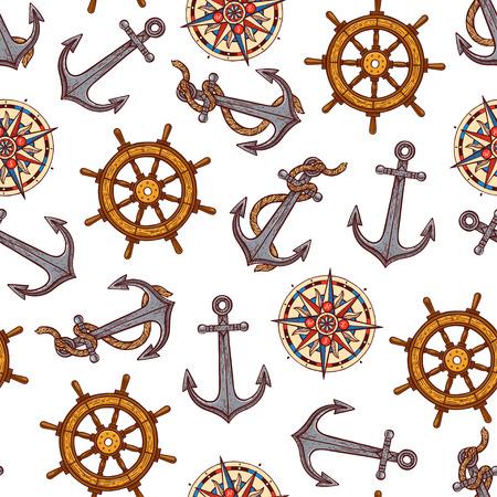 beautiful seamless background of maritime symbols. hand-drawn illustration