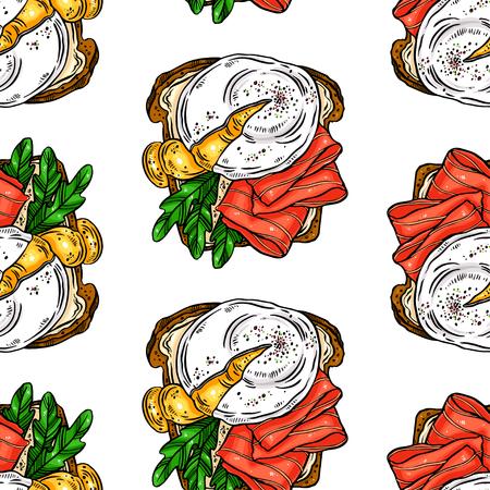 bezszwowe tło pyszne śniadanie grzanki jajka, ryby i inne składniki. ręcznie rysowane ilustracja