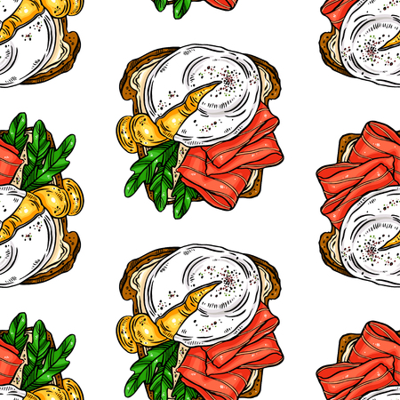 seamless background of delicious breakfast toasts eggs, fish and other ingredients. hand drawn illustration Illustration