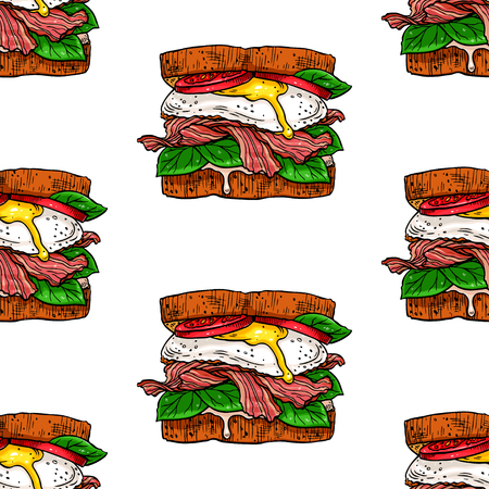 Seamless background of appetizing sandwiches. Hand-drawn illustration