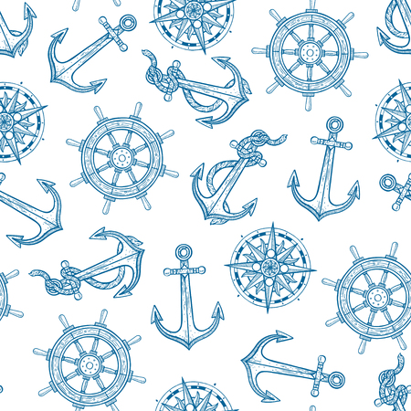 beautiful seamless background of maritime symbols. hand-drawn illustration