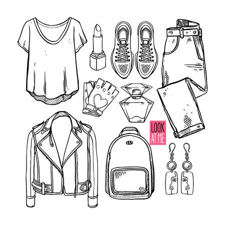 Collezione di moda di abbigliamento e accessori per ragazze di schizzo. Stile donna casual. Illustrazione disegnata a mano
