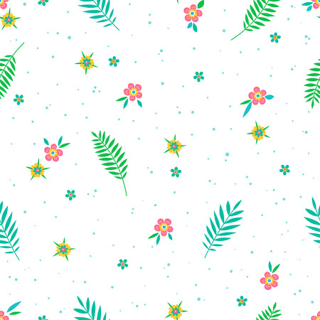 Beautiful pattern in abstract flower and leaves. Small cute simple spring flowers. Illustration