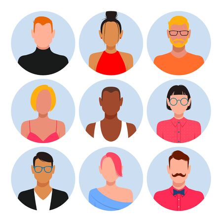 People with blank faces avatar set . Different skin color, hair and clothes Stock Vector - 130610139