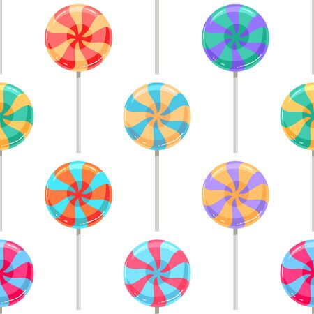 Cute seamless pattern of colorful lollipops. Vector illustration