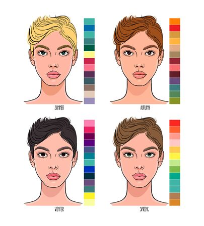 Seasonal Color type of female appearance with a palettes of colors suitable for them. Summer, Autumn, Winter, Spring color type