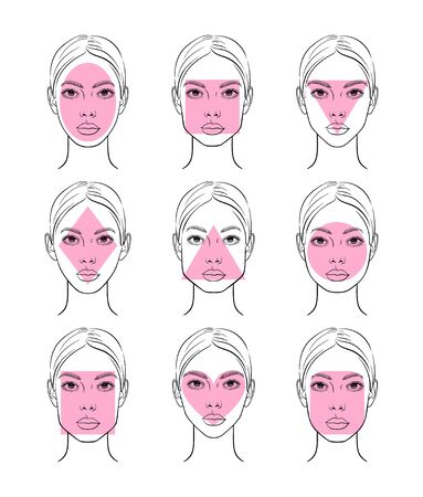 Different female face shapes. Vector illustration. 矢量图像