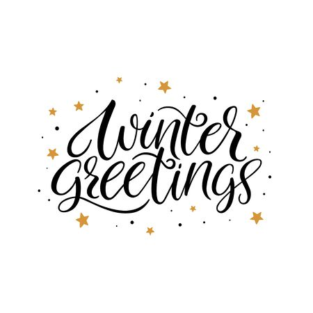 Winter greetings calligraphy hand lettering. Vector calligraphy Иллюстрация