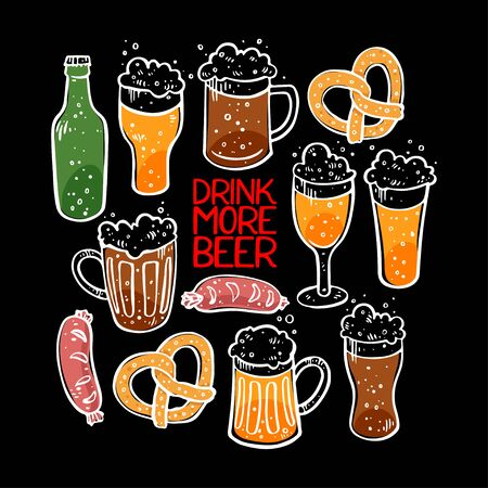 ?ute set of beer, sausages and pretzel. Hand drawn illustrations 向量圖像