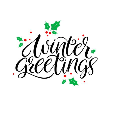 Winter greetings calligraphy hand lettering. Vector calligraphy Banco de Imagens - 132241948