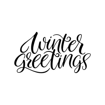Winter greetings calligraphy hand lettering. Vector calligraphy Banco de Imagens - 132241753