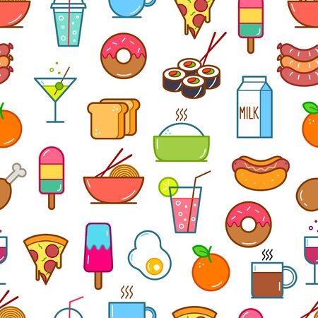 Nahtloser Hintergrund von Symbolen für Essen und Trinken. Vektor-Illustration
