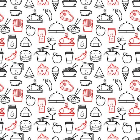 Seamless background of Food and Drink icons. Vector illustration Illustration
