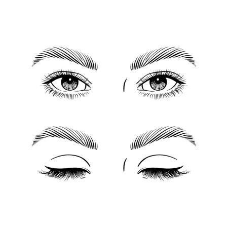 Eyes open and closed. Vector illustration