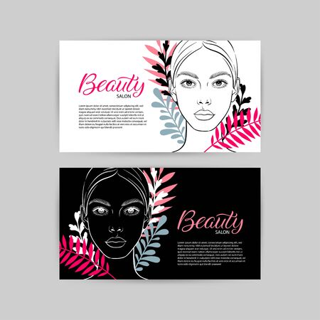 Two business cards for beauty salon with partrait of young attractive woman. Vector iilustration