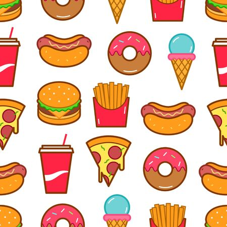 Fast food icons seamless pattern. Vector background Иллюстрация