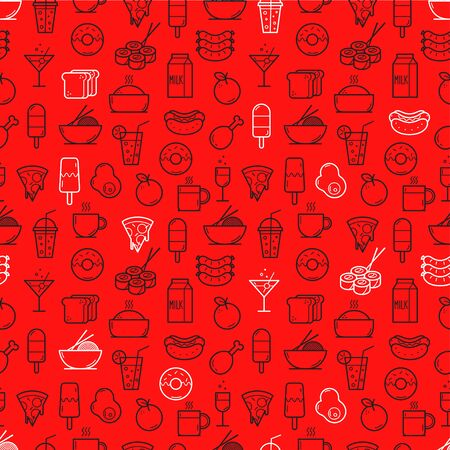 Seamless background of Food and Drink icons. Vector illustration Иллюстрация