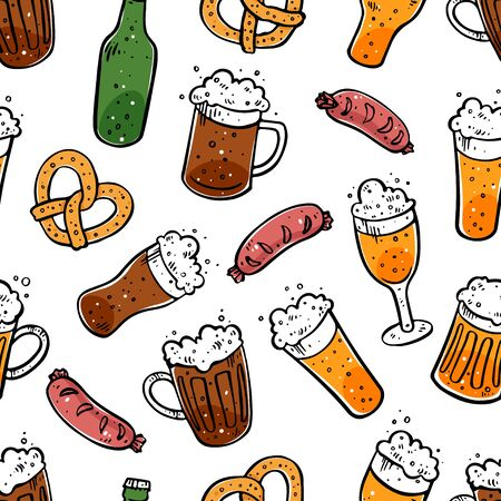 Seamless background of different beer. Hand drawn illustrations