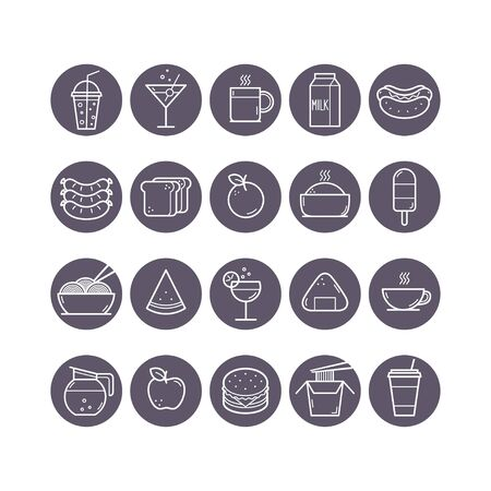 Food and Drink round icons set. Vector illustration Banque d'images - 137584338