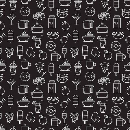 Seamless background of Food and Drink icons. Vector illustration Ilustração