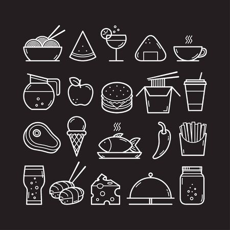 Food and Drink icons set. Vector illustration 向量圖像