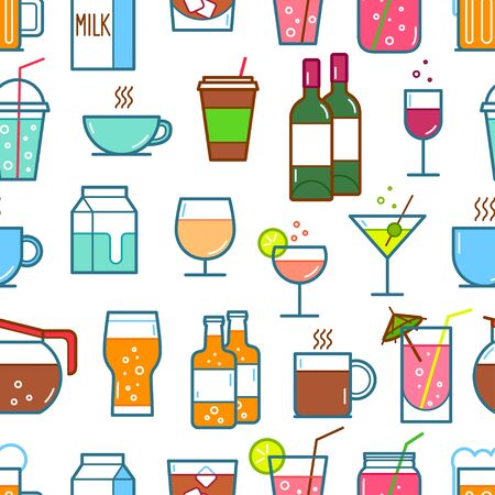 Set of drink and beverage icons. Vector illustration