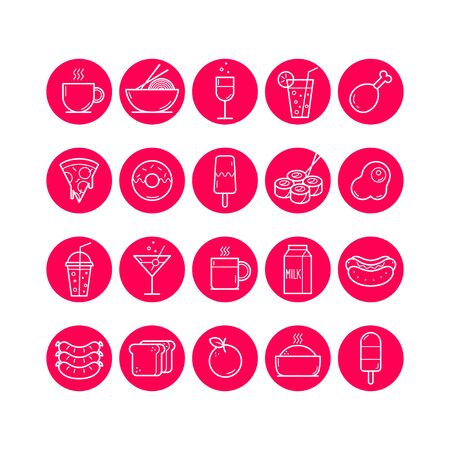 Food and Drink round icons set. Vector illustration Banque d'images - 137582577