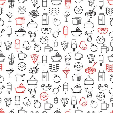 Seamless background of Food and Drink icons. Vector illustration 向量圖像