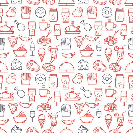 Seamless background of Food and Drink icons set. Vector illustration