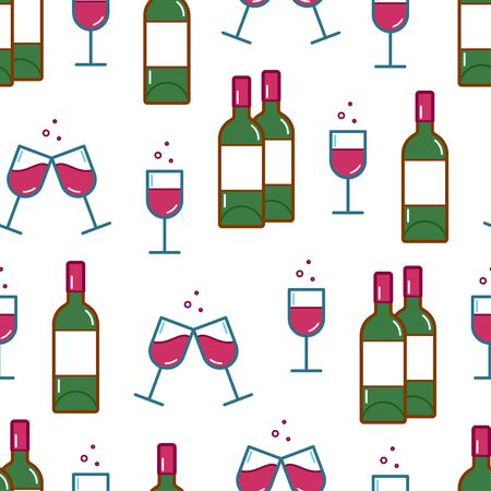 Seamless pattern of wineglasses and wine bottles icons. Vector illustration Banque d'images - 137853581