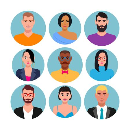 Set of characters for web. Vector illustration