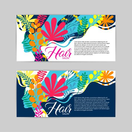 set of two beauty salon template card