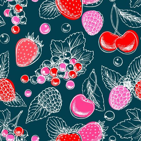 Seamless background of different berries. Hand drawn illustration Иллюстрация
