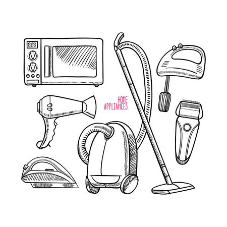 Set of different home appliances. Vector illustration Illusztráció